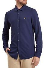 Lyle & Scott Vintage Honeycomb Jersey Shirt Slim Cotton Long Sleeve Navy Blue