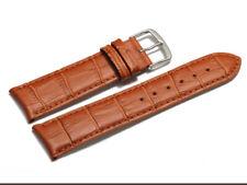 Bracelet montre cuir de veau bouts arrondis marron clair 18, 19, 20, 22 mm NEUF