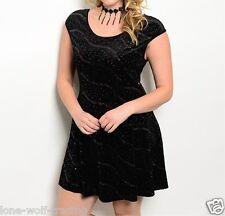 Plus Black Metallic Sparkle Velvet Fit & Flare Party Dress-H-CL-2-CN264343