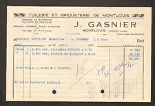 """MONTLOUIS-sur-LOIRE (37) BRIQUETERIE TUILERIE """"J. GASNIER"""" en 1957"""