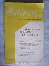 Triades – Entre la lumière et l'ombre, la couleur   Tome VIII   N° 2  été 1960