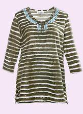 Ulla Popken NEW Khaki striped Embellished Cotton Top Plus Sizes 20 to 30
