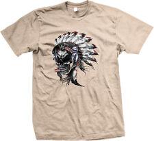 Native American Headdress Skull Cigar Headphones Chief Smoke Tribe Men's T-Shirt
