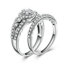 Rings Set Women'S Size 4-10 Bri035 2Pc .925 Sterling Silver Cz Wedding Engagment