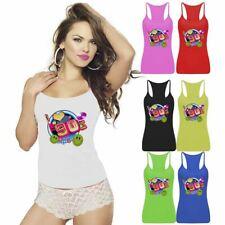 I Love The 90s Logo Print Racerback Ladies Neon Lycra Vest Party Sports Wear