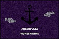 Fußmatte Schmutzfangmatte waschbar Gummirand 90x60 cm Wunschname Maritim Fische