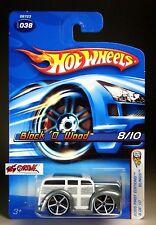 Hot Wheels 2005 #038 Block O' Wood™ GREY,WHITE OH5SP,CHROME BASE,'06 LONG CARD