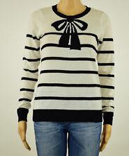 Maison Jules Womens White Black Striped Bow-Print Sweater XS S M L