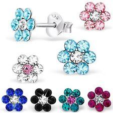 Kristall Kinder Blume Ohrstecker 925 Silber Ohrringe Mädchen Blüte Geschenkidee