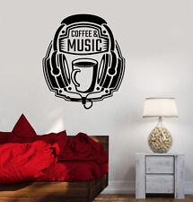 Vinyl Decal Coffee Music Headphones Musical Teen Room Wall Stickers (ig3616)