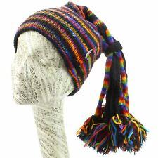 Beanie hat wool knit tassels slouch festival ski hippy rainbow 11 colours