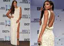 Monika Chiang cream long open back gown dress