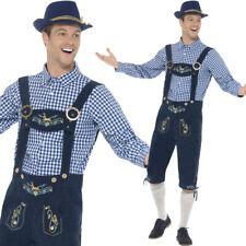 Traditional Mens Oktoberfest Costume Blue Fancy Dress Lederhosen Smiffys 45265