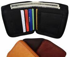 Mens Bifold Zipper Around Leather Wallet Secure Multi Pockets Billfold New
