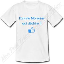 T-shirt Enfant J'ai une Marraine qui déchire! 2 couleurs au choix baptême