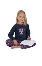 Langer warmer Mädchen Schlafanzug Pyjama mit Flanellhose oder aus Velour Nicki