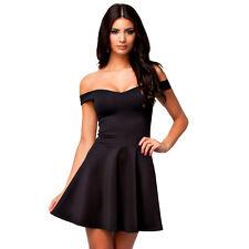 Suzanjas schwarzes Skaterkleid mit Carmen-Ausschnitt, Gr. 36 - 38/M-L