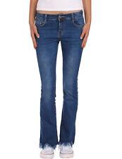 Damen Jeans Hose Bootcut normaler Bund ausgefranst Damenjeans stretch blau neu