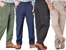 MENS ACTION TROUSERS SIDE ELASTIC  MULTI ZIP POCKETS CASUAL WORK WALKING