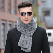 100% Real Rex rabbit fur Knitted scarf winter thick warm Men's fur muffler soft