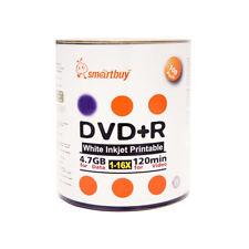 Smartbuy DVD+R 16X 4.7GB/120Min White Inkjet Hub Printable Blank Recordable Disc