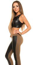 Sexy KouCla Treggings Röhre Skinny Hüfthose mit Lederlook-Einsatz Cappuccino neu
