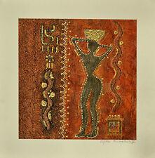 CORINNA PANDOLFI  DONNA  serigrafia polimaterica 40x40 firmata 23/180 + CORNICE