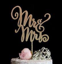 Mr & Mrs Wedding Cake Topper Elegant Script Calligraphy Gold Silver Glitter