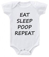 Eat Sleep Poop Repeat Lustig Süß Strampelanzug Anzug Weste Geschenk z1