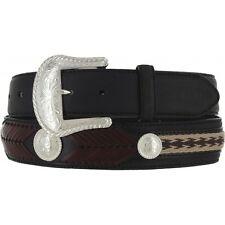 Tony Lama Western Mens Belt Leather Black Southwest Braided Conchos 7233L