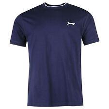 Mens azul marino Tipped Collar Redondo Camiseta Manga Corta Cuello Redondo Camiseta Top