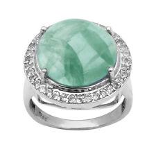 Big Prehnite Stone & Topaz Stone 925 Silver Halo Statement Wedding Cluster Ring