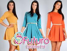 Women's Elegance & classica Partito Abito Girocollo Maniche 3/4 Taglie 8-14 FA47