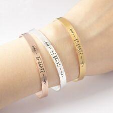 Inspirational Quote Bracelets Be Brave Motivational Women Men's Mantra Jewelry