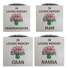 Memorial Pink Flower Bouquet Raised Rose Holder Bowl Pot Grave Keepsake Vases