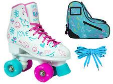 Epic Frost High-Top Quad Roller Skates Bundle w/ Blue Limited Edition Skate Bag
