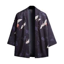 Men Japanese Kimono Coat Cardigan Tops Jacket Vintage Loose Yukata Outwear Black