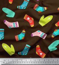 Soimoi Fabric Socks & Gloves Folk Art Printed Fabric 1 Yard - FA-511A