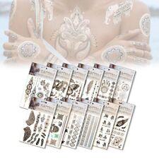 Tatuaggi metallici temporanei oro e argento set da 4 fogli con diversi tatoo