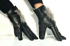 Ladies Leather Gloves Pom Pom Winter Soft Fur Driving Warm Black