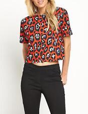Women's Animal Print Crop Top Ladies Short Sleeve Fashion T-Shirt Tops UK 8-12