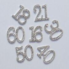 *Small Cake Card Number Embellishment Clear Rhinestone Diamante GEMS 16 18 21 30
