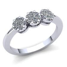 0.75ct Genuine Round Cut Diamond Ladies Cluster Fancy Engagement Ring 10K Gold