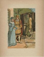 ANTIQUE PRETTY WOMAN BLUE DRESS BLUE CAP VEIL SPHINX MIDDLE AGES COSTUME  PRINT
