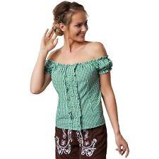 Trachtenbluse Carmen Ausschnitt Dirndl Bluse Damen Oktoberfest grün weiß kariert