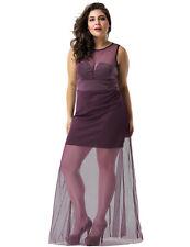 Plus Size Floor Length Dress Purple Sheer Overlay Big Girl Maxi Formal 12-18
