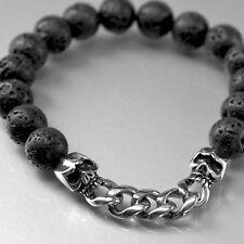 silver skull wolf chain black volcanic stone beads stainless steel bracelet