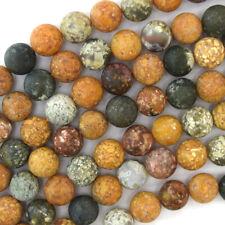 "Natural Matte Ocean Jasper Round Beads Gemstone 15"" Strand 4mm 6mm 8mm 10mm 12mm"