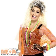 Neon Orange Fishnet Top Ladies Fancy Dress 80s Celebrity Womens Costume Acc New