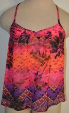 Women's Arizona Orange Tropical Palm Geo Sheer Sleeveless Blouse Top Jrs. XS-XL